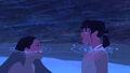 Pocahontas and Nakoma under canoe