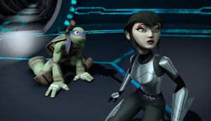 Donatello and Karai in Dimension X