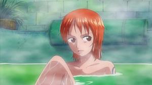 Nami taking a bath