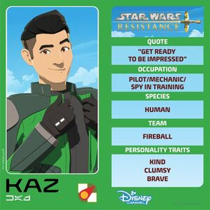 Star Wars Resistance character card for Kazuda Xiono