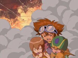 Taichi, Hikari and Takeru running