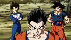 Gohan with Goku and Vegeta