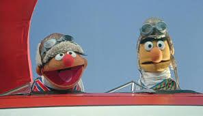 Ernie and Bert on their plane
