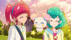 STPC04 Hikaru, Lala and Fuwa smile at each other