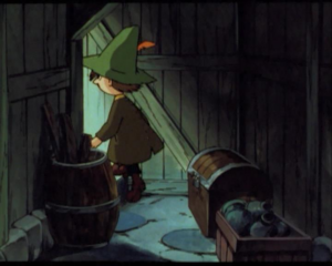 Snufkin comes out of the basement