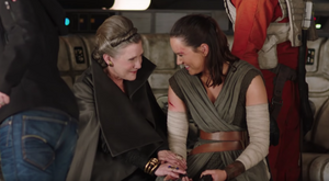 TLJ Leia and Rey - behind the scenes