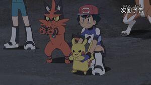 Ash, Pikachu and Torracat (SM090)