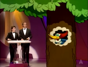 Martin Short and Chevy Chase meets Woody Woodpecker at the 63rd Academy Awards