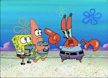 Mr. Krabs threatens SpongeBob and Patrick
