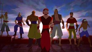 Sinbad arrives to save Proteus without the Book of Peace