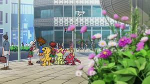 Mimi, Taichi, Koshiro, Palmon, Agumon and Tentomon in fake Tokyo