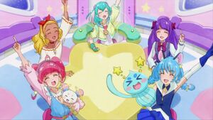 STPC49 A picture of the five girls, Prunce and Fuwa in the rocket