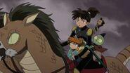 Kohaku, Shippo, Jaken riding on A-Un
