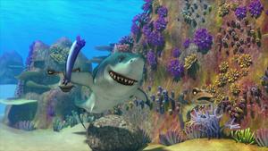 Shark preparing to throw Eddie at Bart