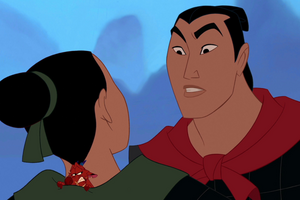 Mulan being questioned by Li Shang
