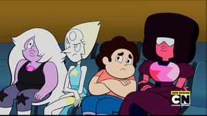 Amethyst, Pearl, Steven and Garnet (equally ticked)
