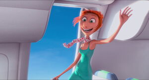 Lucy leaping out of the plane realizing her love for Gru