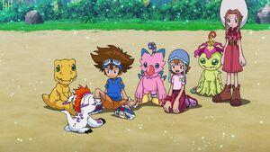 Gomamon, Agumon, Taichi, Biyomom, Sora, Palmon and Mimi
