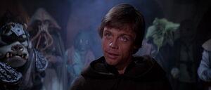Luke Skywalker facing Jabba The Hutt