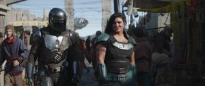 Mando and Cara in the Nevarro City (The Siege)