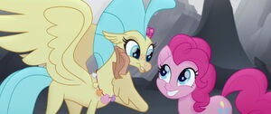 Pinkie Pie and Skystar (as a Hippogriff)