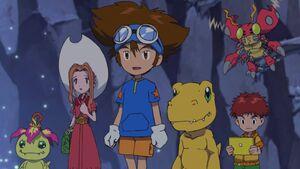 Palmon, Mimi, Taichi, Agumon, Koshiro & Tentomon