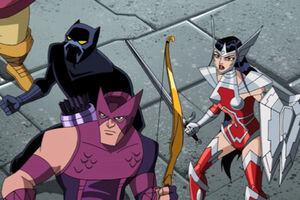 Hawkeye, Black Panther and Sif