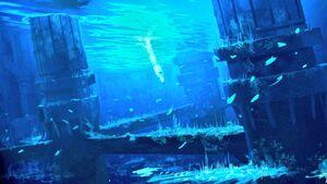 Rey underwater