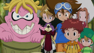 Taichi and others with Garbagemon and Wisemon