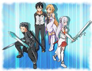 Yande.re 515799 armor asuna (sword art online) bosstseng cleavage crossover emilia (re zero) heels kirito natsuki subaru pointy ears sword sword art online thighhighs