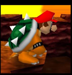 Mario party 64 mario with bowser suit in the desert
