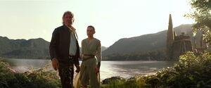 Rey and Solo on Takodana