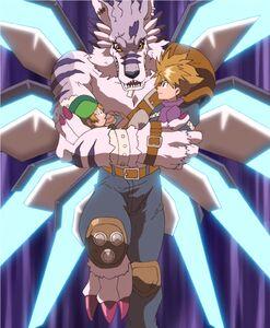 WereGarurumon holds T.K. and Yamato