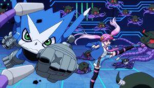 Dokamon and Eri fight