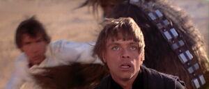 Luke Skywalker facing Boba Fett