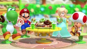 Yoshi Mario Rosalina and Toad eatting doughtnuts