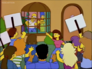 Homer greeted by angry mob of college students