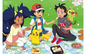 Iris with Ash, Pikachu, and Goh