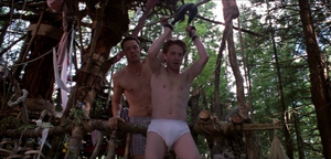 Jerry Conlaine (Matthew Lillard) in boxers and Dr Dan Mott (Seth Green) in briefs in Without a Paddle ziplining to join Tom