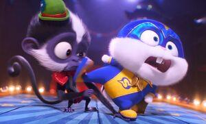 Captain Snowball kicking that monkey's head