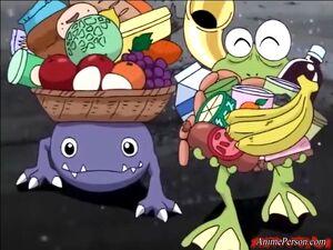 Gekomon and Otamamon returned with food