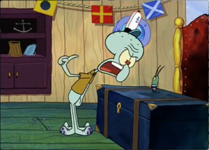 Squidward argues with Mr. Plankton