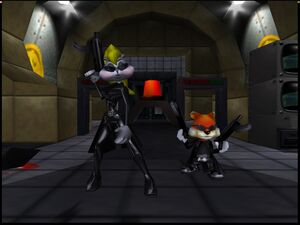 Conker's Bad Fur Day 64 conker and berri with weapons