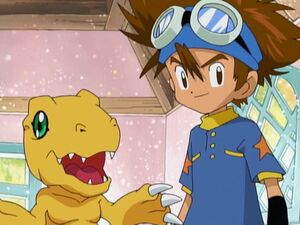 Taichi and Agumon in Puppetmon's House.