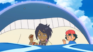 Ash and Olivia with Wailmer