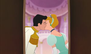Cinderella and Prince Charming's kiss in Cinderella II
