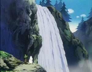Moomintroll and Snufkin in the waterfall