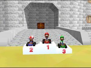 Mario luigi and toad Mario Kart 64 trophy ceremony
