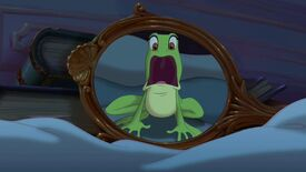 Tiana screams seeing her reflection as a frog