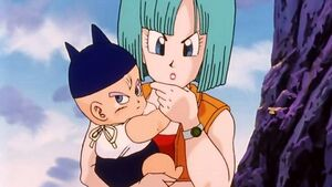 Bulma and her son trunks as baby